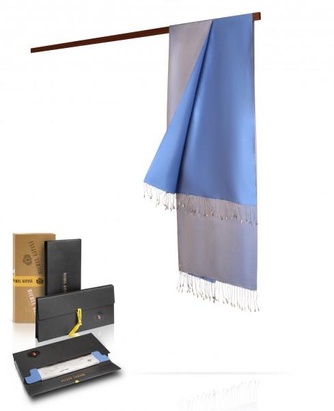 Палантин из двухсторонней шелковой тафты Горный воздух ST80-REV103/ABLEU.2