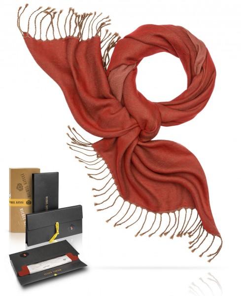 Палантин из двухсторонней объемной шерсти ПЫЛАЮЩИЙ ЗАКАТ W230-PLAID/REDS