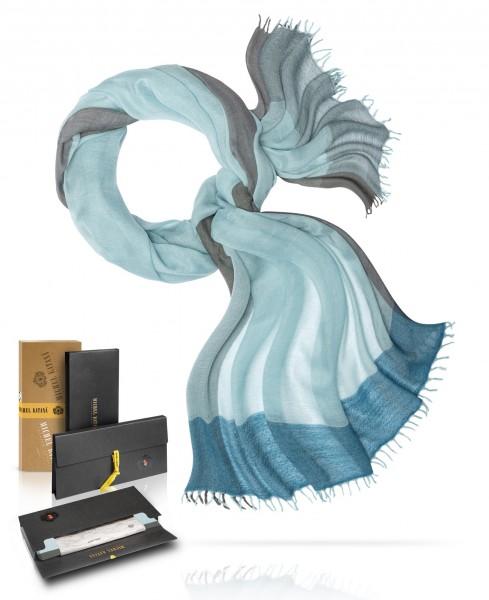 Легчайший шерстяной Палантин с добавленем шёлка НЕБО НАД МАРСЕЛЕМ WS45-QUATRIEN/BLEU.CIEL