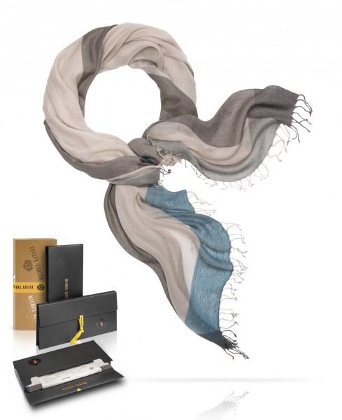 Легчайший шерстяной Палантин с добавленем шёлка НЕЖНАЯ ГОРЛИЦА WS45-QUATRIEN/GRISE