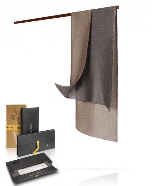 Двухсторонний палантин, муаровое плетение, шерсть и шелк в тандеме: ГРИДЖИО WS90-MOIRE/GRIS.TAUPE