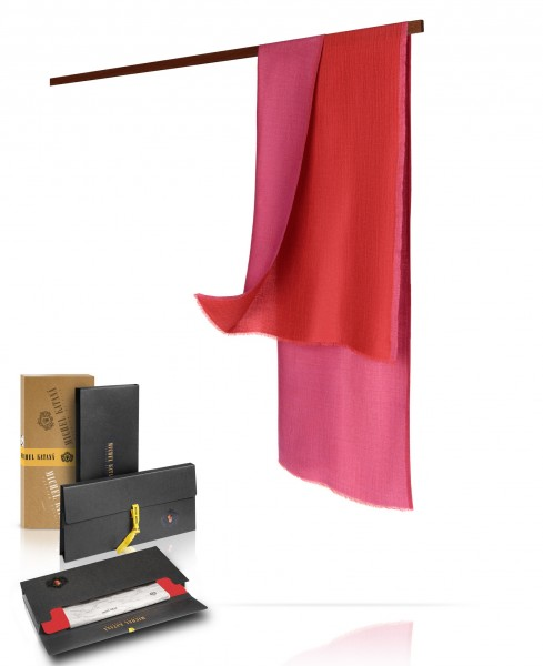 Двухсторонний палантин, муаровое плетение, шерсть и шелк в тандеме:  РОЗОВОЕ САРИ WS90-MOIRE/ROUGE.LAVANDE