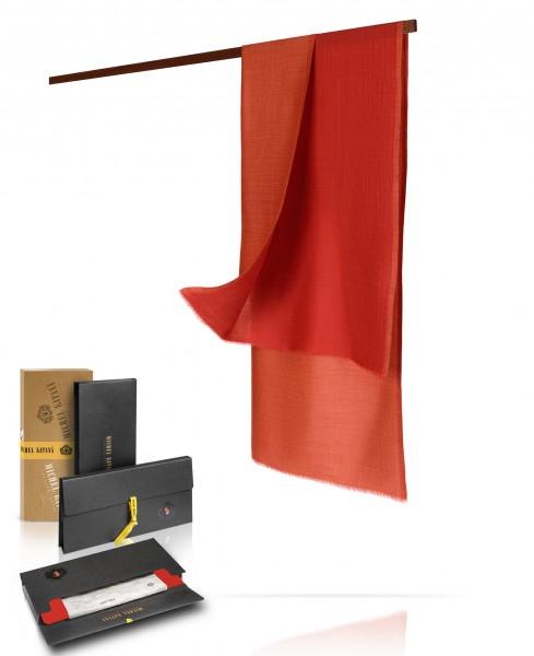 Двухсторонний палантин, муаровое плетение, шерсть и шелк в тандеме: ВОСТОЧНЫЙ МАК WS90-MOIRE/ROUGE.ROUILLE