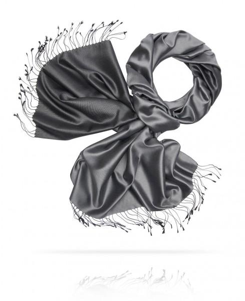 Черный палантин Уверенность из плотного шелка ST80-REV9/TIMBER.DARK