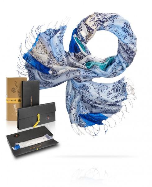 Палантин шелковый ЛЕДНИКОВЫЙ ПЕРИОД S30-ICE.AGE/BLUE