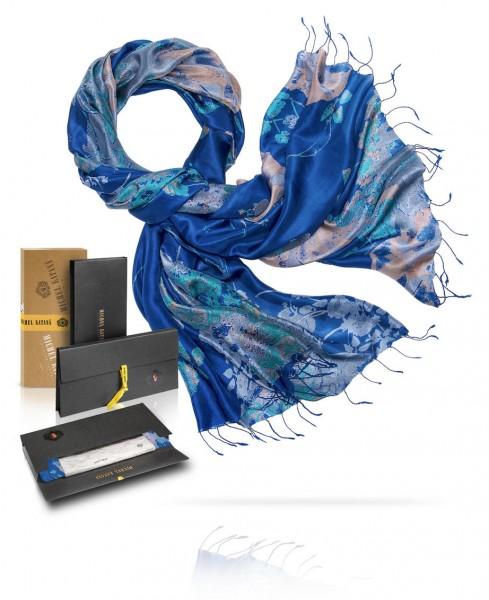 Палантин шелковый Цветочная акварель S30-JEWEL.FLOWER/DARK.NAV
