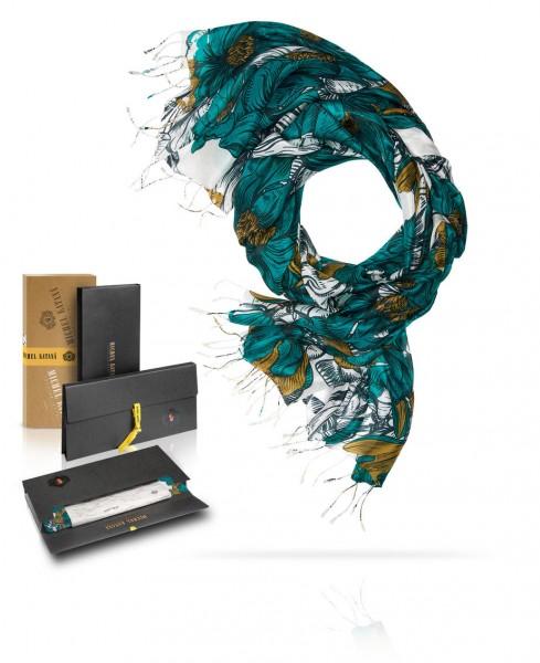 Палантин шелковый Любимый из цветов S30-RENAISSANCE.FL/TURQU