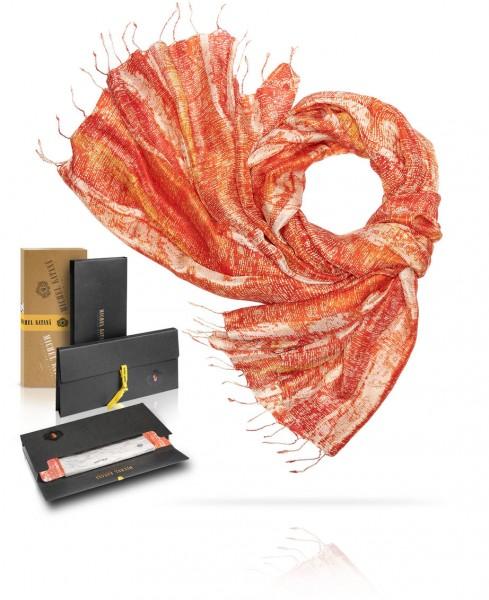 Палантин шелковый Пламенеющй закат S30-MONOLIT.ART/ORANGE