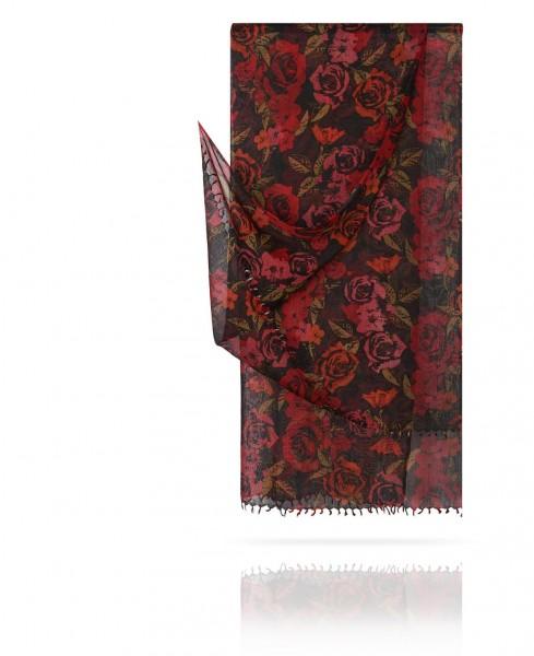 Палантин из тончайшей шерсти Розы в темноте W40.120-ROSA.AMOUR/NOIR