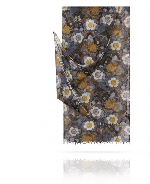 Палантин из тончайшей шерсти Вечер в летнем саду W40.120-JARDIN/GRIS