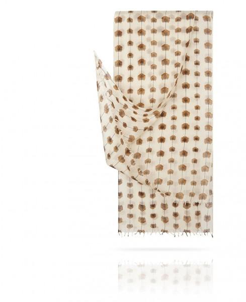 Палантин из тончайшей шерсти Цветковый Млечный Путь W40.120-FL.PETITE/BLANC
