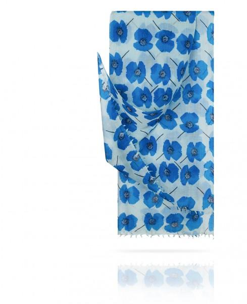 Палантин из тончайшей шерсти Синие маки W40.120-BATASI/BLEU